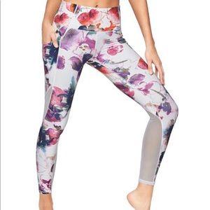 Athleta 7/8 length Floral Mudra Tight pink tights